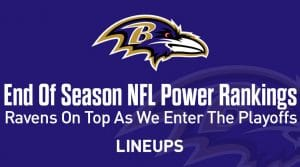 End of the Season NFL Power Rankings