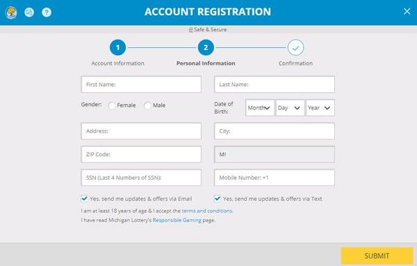 milottery account registration