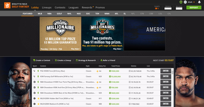 draftkings daily fantasy site