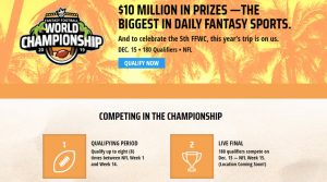 2019 DraftKings 5th Annual World Fantasy Football World Championship Is On: $10 Million Guaranteed