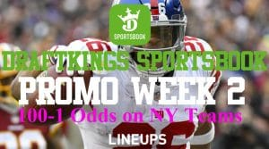 DraftKings New Jersey Week 2 NFL Promos – 100-1 Odds on Giants & Jets Game