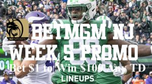 BetMGM New Jersey 100-1 NFL Week 5 Free Promo and $500 Risk-Free Bet
