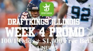 DraftKings Illinois 100-1 NFL Week 4 Promotion and Betting Pick