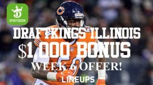 DraftKings Illinois NFL Week 6 Promo: $1,000 Sign-Up Bonus + Chicago Bears Bet