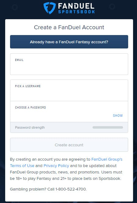 fanduel create account