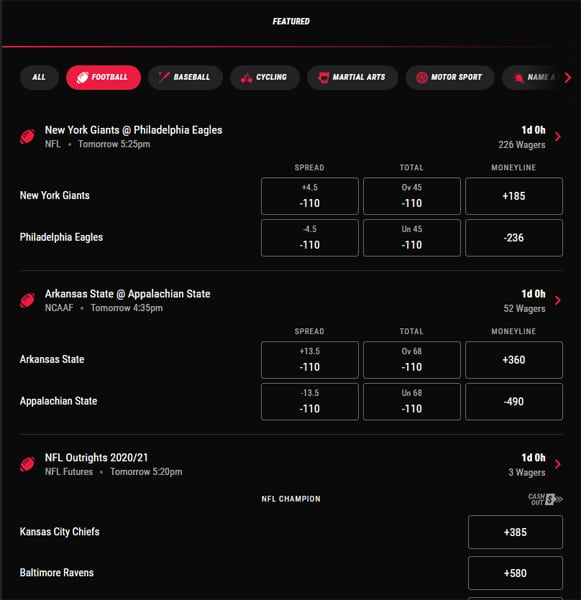 pointsbet website design