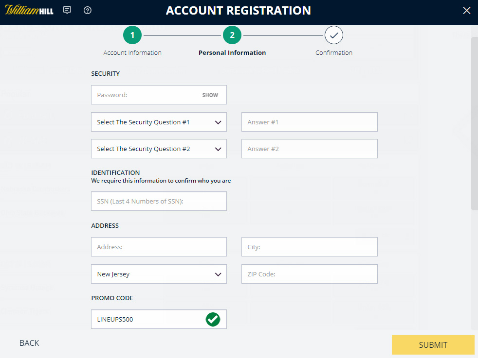 william hill account registration promo code