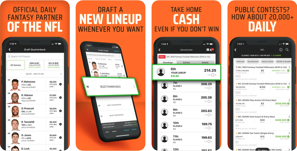 DraftKings Daily Fantasy Mobile