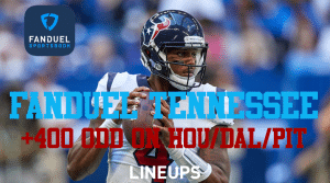 Get +400 on HOU/DAL/PIT Parlay for Thanksgiving With FanDuel Tennessee