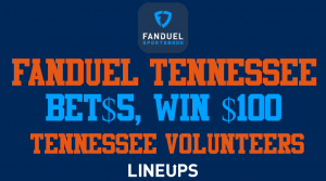 FanDuel Tennessee: Bet $5 Win $100 on the Volunteers this Saturday