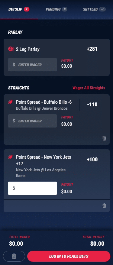 PointsBet Bet slip