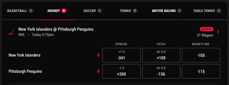 PointsBet In-play wager